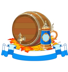 Oktoberfest keg and mug vector image