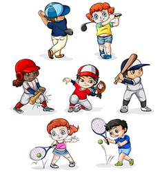 A group of people engaging in different sports vector image vector image