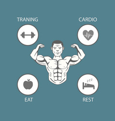 Body building lifestyle info graphic vector