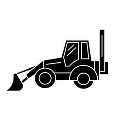 bulldozer icon black sign on vector image