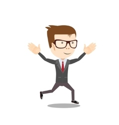 Business man runs to success vector image