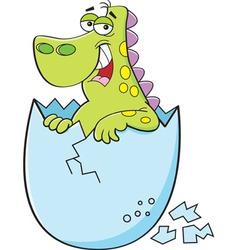 Cartoon dinosaur hatching from an egg vector
