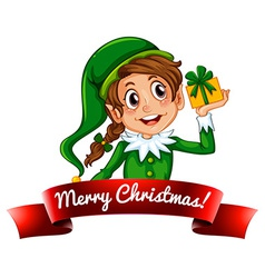 Christmas logo with female elf vector image vector image