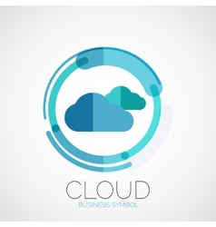Cloud storage company logo minimal design vector image