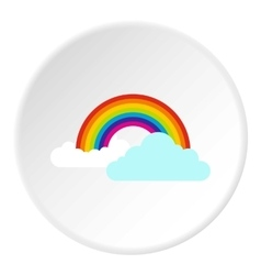 Clouds and rainbow icon flat style vector