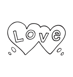Double heart speech bubble with love word vector