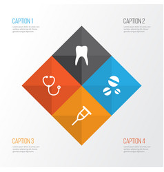 drug icons set collection of stand cure dental vector image vector image