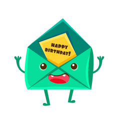 Envelop with greeting postcard happy birthday and vector