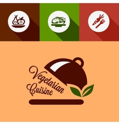 Flat vegetarian cuisine design elements vector