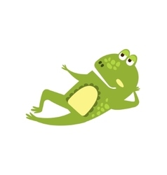 Frog Laying Down Preaching Flat Cartoon Green vector image