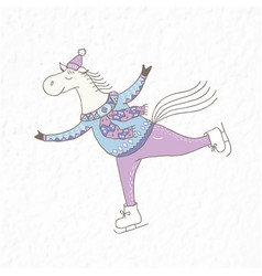Funny horse on the skates nursery art vector