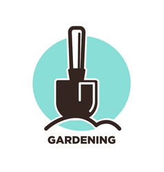 Gardening logo design with spade and ground on vector