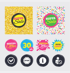 information icons stop prohibition symbol vector image vector image