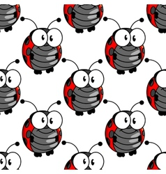 Ladybug seamless background pattern vector image vector image