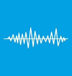 Music sound waves icon white vector