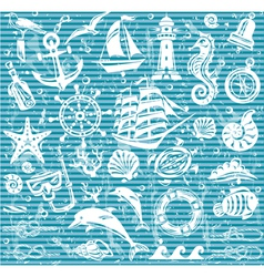 Nautical and sea icons set vector