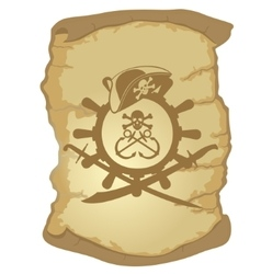 Parchment and the helm of a sailing ship-1 vector image