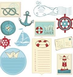 scrapbook sea elements vector image vector image