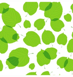 Seamless pattern of green leaves on the white vector image