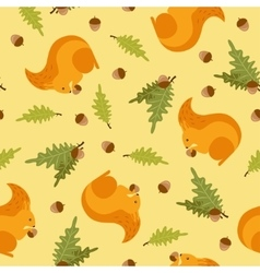 Seamless pattern with a picture of squirrels vector
