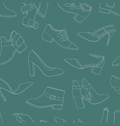 seamless pattern with various models of shoes and vector image vector image