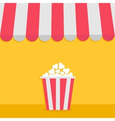 Striped store awning for shop marketplace cafe vector image