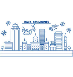 Usa iowa des moines winter city skyline merry vector