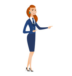 Young caucasian stewardess pointing to the side vector