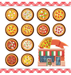 - pizza flat icons isolated on white vector image