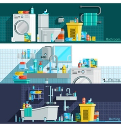 Hygiene icons flat horizontal banners vector