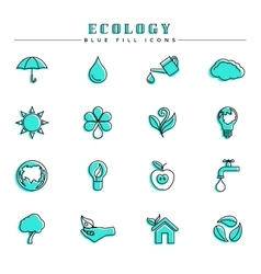 Ecology blue fill icons set vector