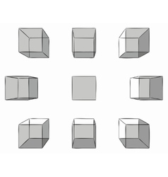 hand drawn cubes with shadows in perspective vector image
