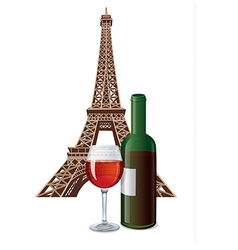 Bottle of french wine vector