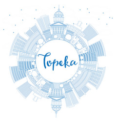 Outline topeka skyline with blue buildings and vector