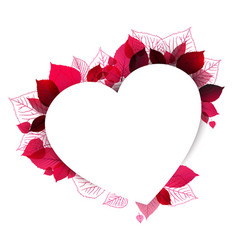 floral heart shape made from leafs vector image