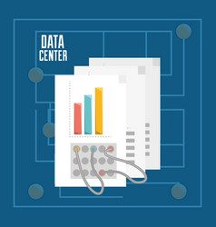 Documents and connecting information data center vector