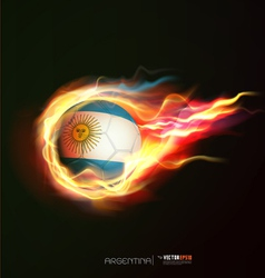 argentina flag with flying soccer ball on fire vector image