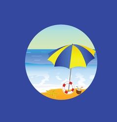 Beach paradise cartoon on a blue vector