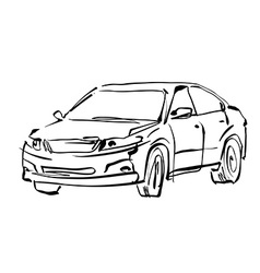 Monochrome hand drawn car on white background vector