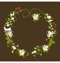 Flower wreath love vintage romantic bird spring vector