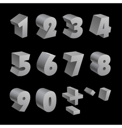 Silver 3d numbers isolated font on black vector