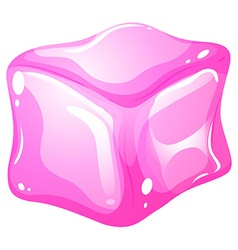 Pink ice cube on white vector