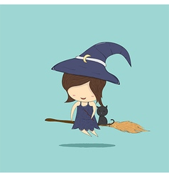 Witch cute and black cat ride on the broom vector