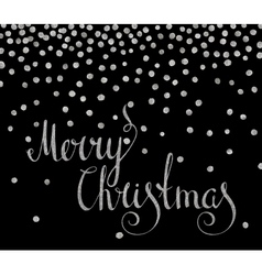 Silver calligraphic inscription merry christmas vector