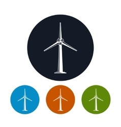 Wind turbine icons vector