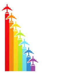rainbow airplanes vector image