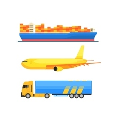 Cargo transportation set vector