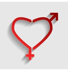 Gender signs in heart shape vector
