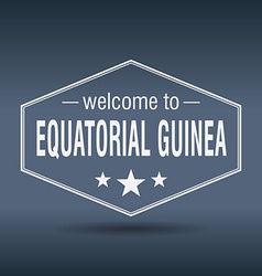 Welcome to equatorial guinea hexagonal white vector