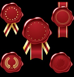 Wax seal collection with ribbons vector